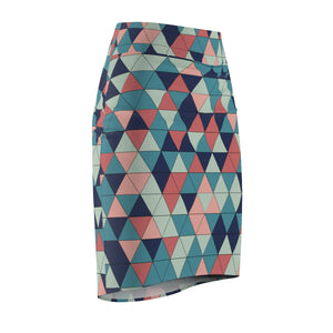 Women's Colorfull Geometric Pencil Skirt