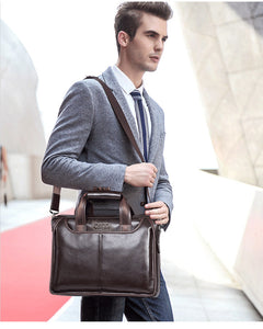 Men Real Cowskin Leather Messenger Bag - zoviana