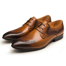 Load image into Gallery viewer, Genuine Leather Lace-Up Pointed Toe Brogues - zoviana
