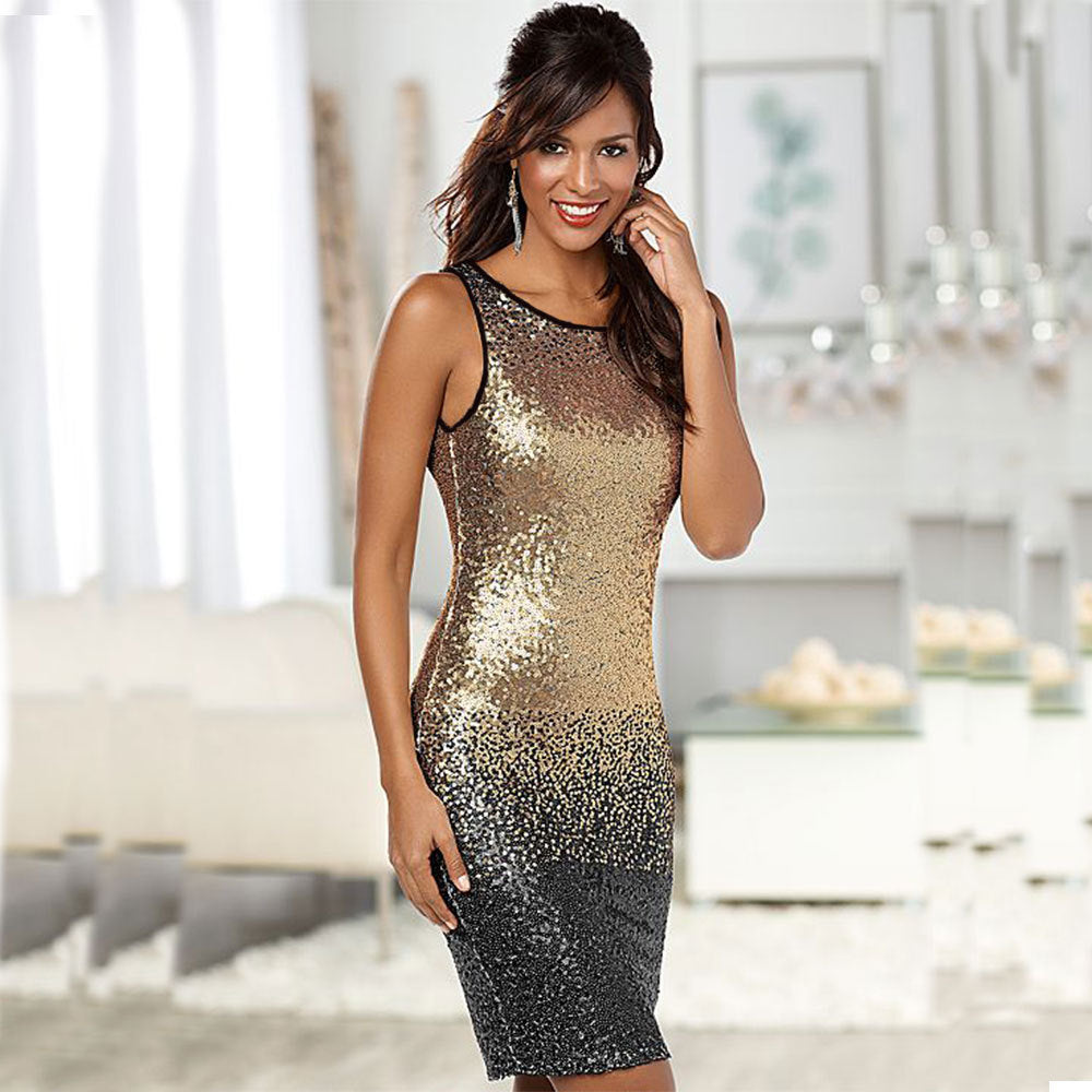 Women Sequined Backless Bodycon Knee-Length Dress - zoviana