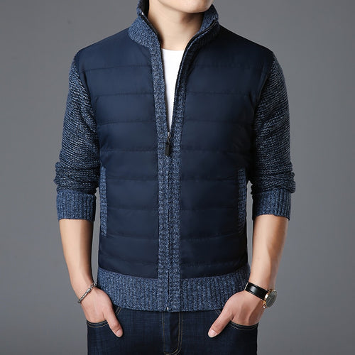 Mandarin Collar Slim Fit Thick Knitted Cardigan