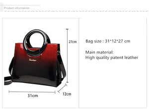 Women Patent Leather Messenger Bag Shoulder Bag Tote Bag - zoviana
