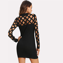 Load image into Gallery viewer, Women Cut Out Stand Collar Plain Bodycon OL Mini Dress - zoviana
