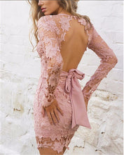 Load image into Gallery viewer, Backless Deep V Neck Lace Embroidery Mini Dress - zoviana