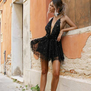 Women Sequined Backless Halter Mini Tassel Dress - zoviana