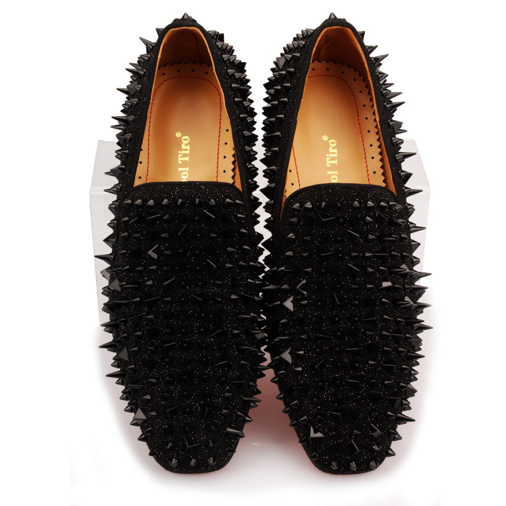 Men Genuine Leather Spikes Rhinestones Glitter Loafers Flats - zoviana