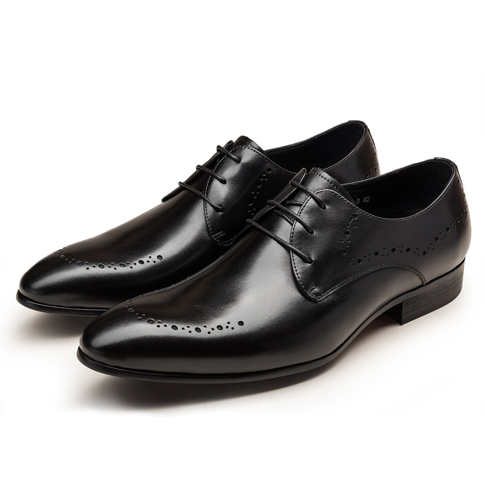 Genuine Leather Lace-Up Pointed Toe Brogues - zoviana