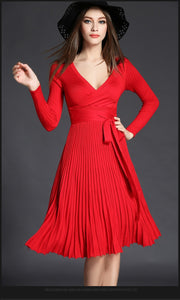 Women V-neck Bow Fold Pleated Dress - zoviana