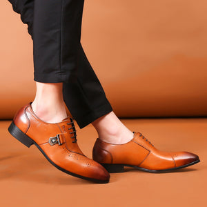 Men Genuine Leather Lace Up Brogues Oxfords - zoviana