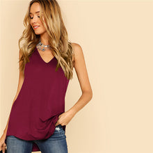 Load image into Gallery viewer, Asymmetrical Burgundy V Neck Tank Top - zoviana