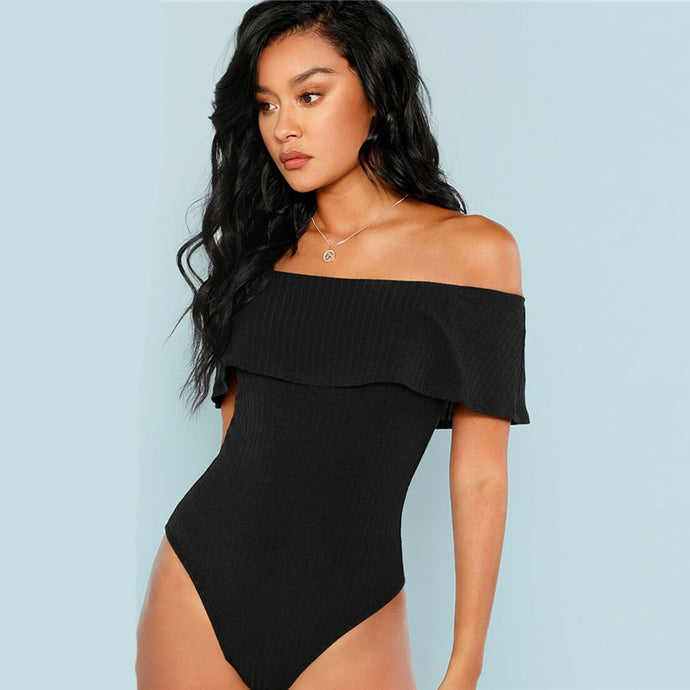 Black Foldover Off Shoulder Ribbed Skinny Bodysuit