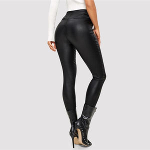 Black leather high waist pants