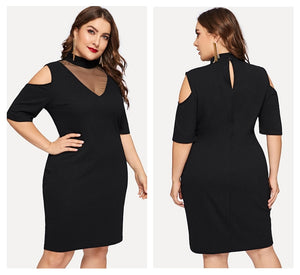 Black Mesh Cold Shoulder Bodycon Knee Length Dress - zoviana