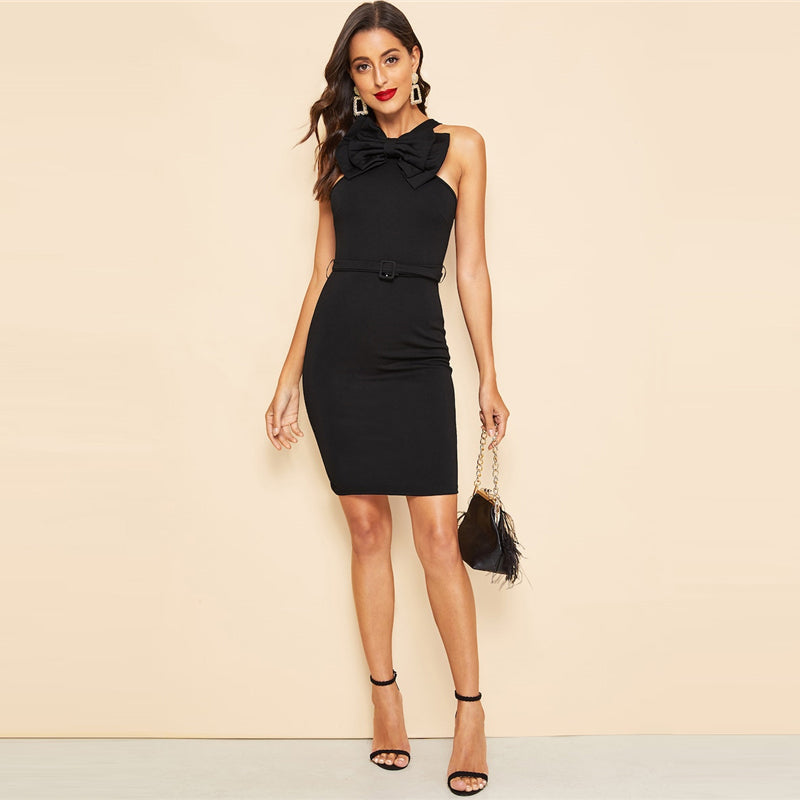 Black Bow Bodycon Pencil Mini Dress - zoviana
