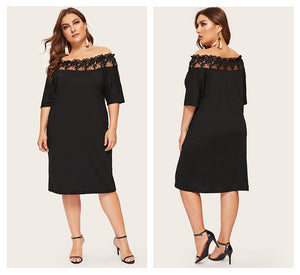 Black Off Shoulder Mesh Knee Length Dress - zoviana