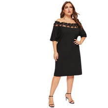 Load image into Gallery viewer, Black Off Shoulder Mesh Short Sleeve Knee Length Dress - zoviana