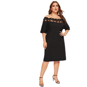 Black Off Shoulder Mesh Short Sleeve Knee Length Dress - zoviana