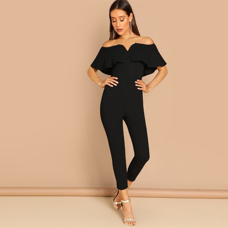 Black Off Shoulder Short Sleeve Ruffle Jumpsuit - zoviana