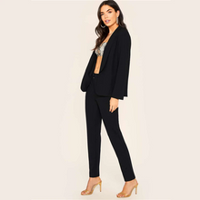 Load image into Gallery viewer, Black Shawl Collar Blazer And Pants Outfit
