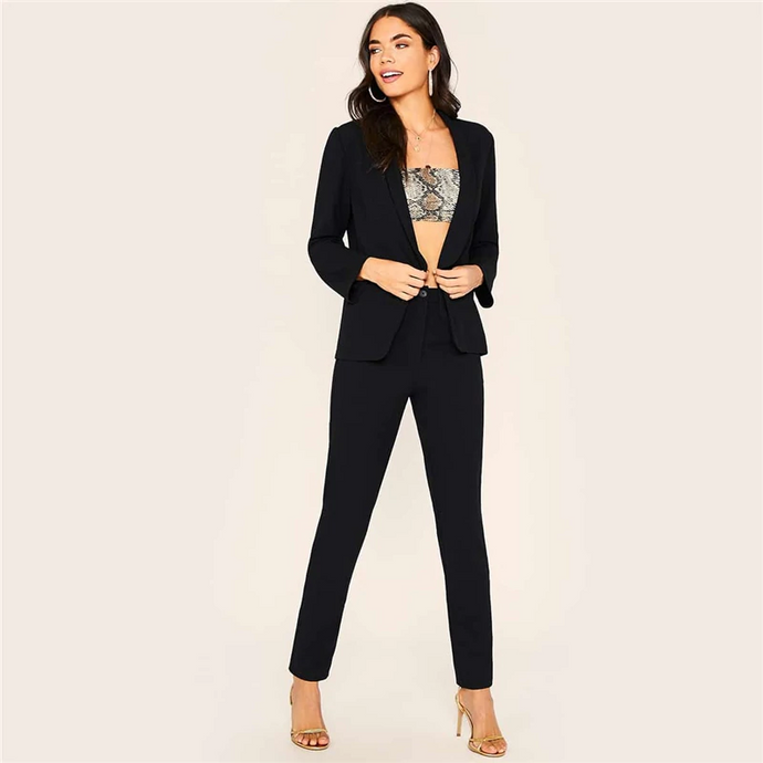 Black Shawl Collar Blazer And Pants Outfit