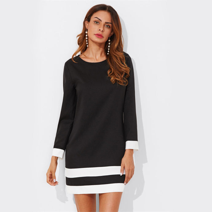 Black Striped Cuff And Hem Shift Tunic Dress