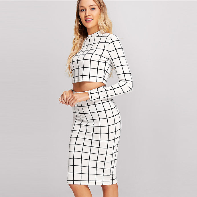 Black and White Plaid Crop Top And Pencil Skirt