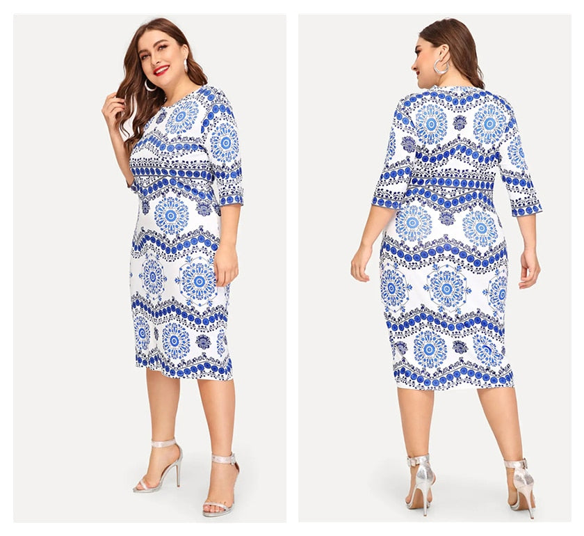 Blue And White Bodycon Half Sleeve Midi Dress - zoviana