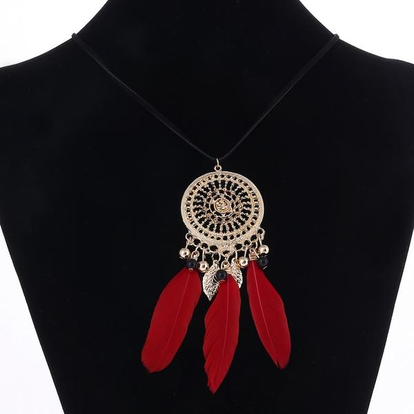 Bohemian Feather Long Beaded Black Necklace
