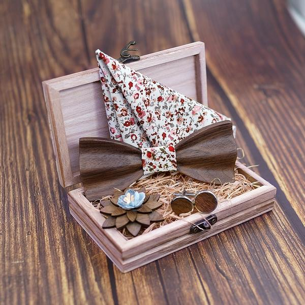 Butterfly Wooden Bow Tie Cufflink Handkerchief Set