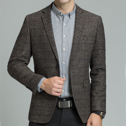 Plaid Wool Tweed Blazer with Elbow Patch