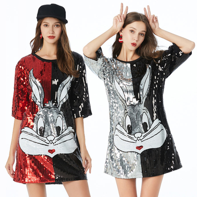 Cartoon Sequined Embroidered Party Mini Dress