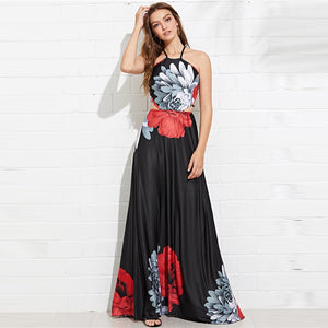 Floral Cut Out Criss Cross Backless Maxi Dress - zoviana