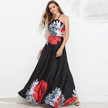 Load image into Gallery viewer, Floral Cut Out Criss Cross Backless Maxi Dress - zoviana