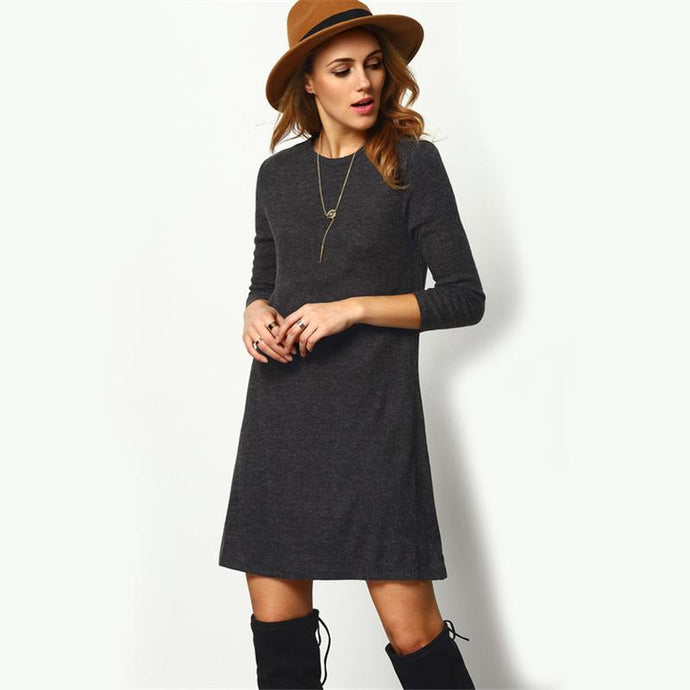 Gray Minimalist Sweater Mini Dress