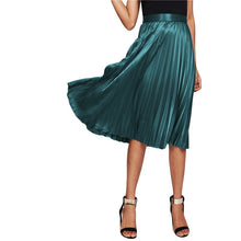 Load image into Gallery viewer, Green Satin Mid Waist Pleated Skirt - zoviana