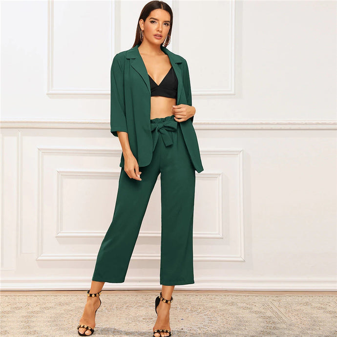 Green 3/4 Sleeve Blazer And Waist Belted Pants