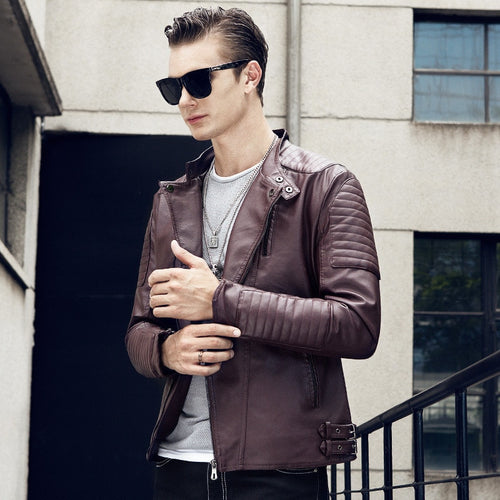 Leather Stand Collar Motorcycle Jacket