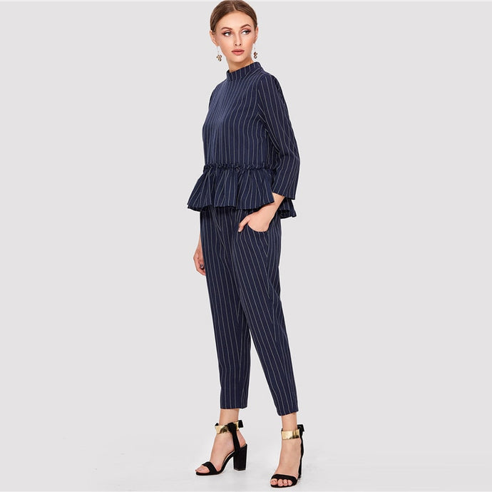 Navy Striped Ruffle Hem Top And Pants