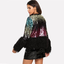 Load image into Gallery viewer, Sequined Faux Fur Jacket