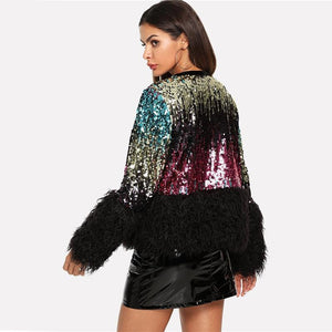 Sequined Faux Fur Jacket