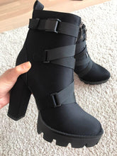 Load image into Gallery viewer, Black Thick Heel Platform Ankle Boots