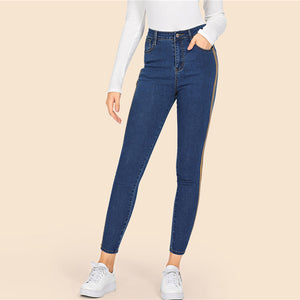 Blue Side Striped Stretchy Skinny Crop Jeans
