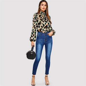 Leopard Bishop Sleeve Frill Neck Shirt