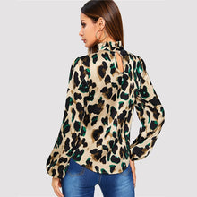 Load image into Gallery viewer, Leopard Bishop Sleeve Frill Neck Shirt