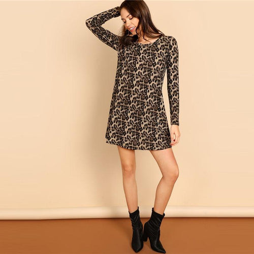 Leopard Round Neck A Line Mini Dress