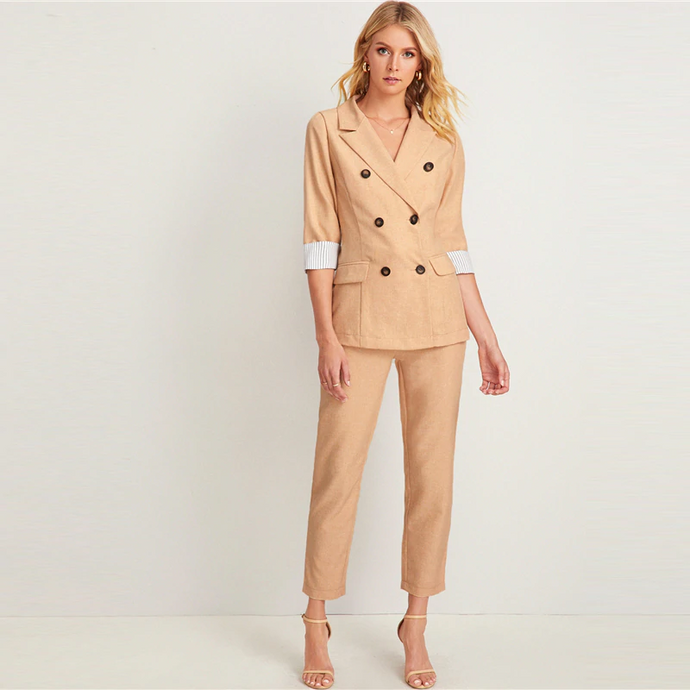 Khaki Double Breasted Notched Blazer With Belted Pants Outfit