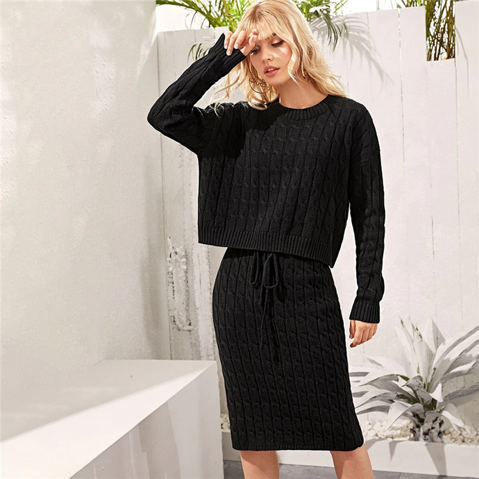 Knited Sweater And Knee-Length Tie Waist Skirt Set