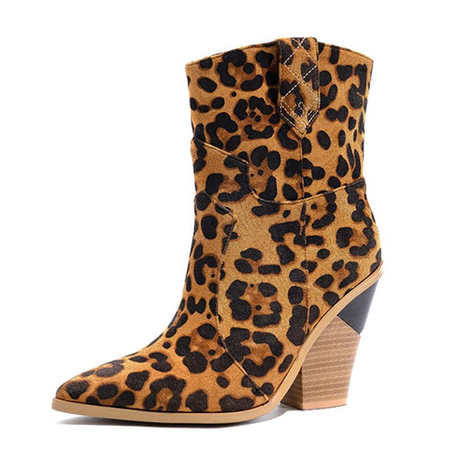 Leopard High Heels Pointed Toe Ankle Boots