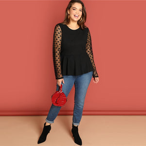 Long Sleeve Mesh Dot Ruffle Hem Blouse - zoviana