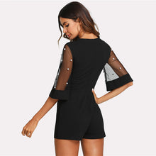 Load image into Gallery viewer, Pearl Embellished Mesh Yoke Flounce Sleeve Playsuit - zoviana